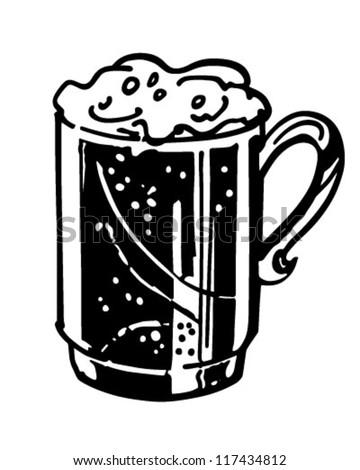 Mug Of Beer - Retro Clipart Illustration - stock vector