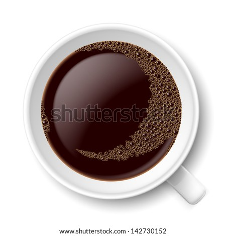 Mug of coffee. Top view illustration on white background - stock vector