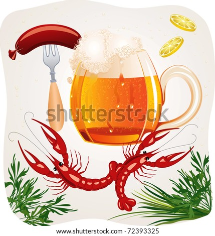 Mug of cold foamy beer with crayfishes and fork with a hot dog - stock vector