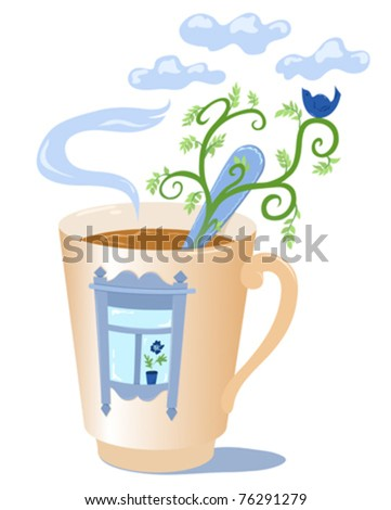 Mug with a window. Vector illustration. Isolated on white. - stock vector