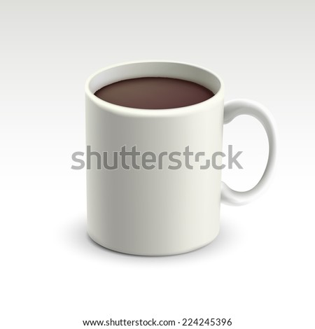 mug with hot chocolate isolated on white background - stock vector