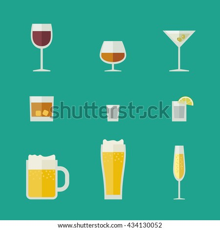 Mugs and glasses icons. Vector flat glasses with alcoholic beverages.