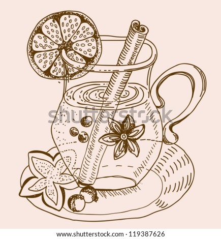 mulled warm wine background, illustration, vector - stock vector