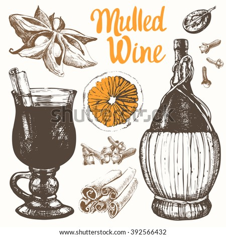 Mulled wine set in sketch style. Classical winter drink. Vector illustration with mulled wine, old wine bottle, grape, cinnamon, orange.  - stock vector