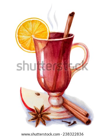 Mulled wine with spices..Hand drawn watercolor illustrations. - stock vector