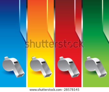 multi color whistle banners - stock vector