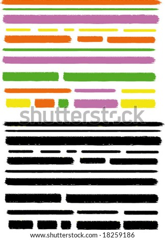 Multi colored and black marker lines, full editable colors - stock vector