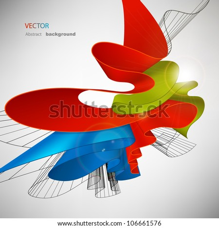 Multi-colored bright abstract background. Volume bent forms - stock vector