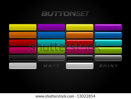Multi-colored Button Set in two different styles. Matt & shiny. - stock vector
