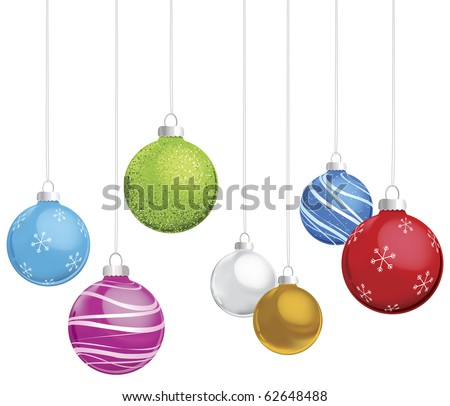 Multi-colored Christmas ornaments on white background - stock vector