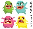 Multi colored monsters - stock vector