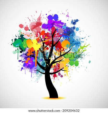 Multi colored paint splat abstract tree illustration - stock vector