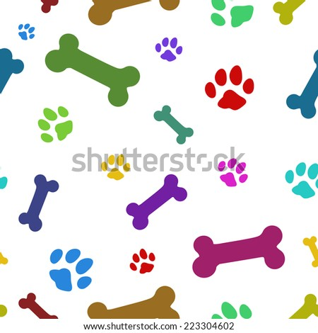 multi colored paw pattern, repeat to any large - stock vector