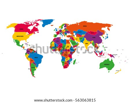 Multicolored political vector map world national stock vector multi colored political vector map of world with national borders and country names on white gumiabroncs Gallery