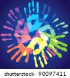 multi-colored prints of the hands, vector illustration - stock vector