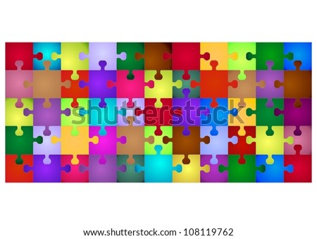 multi-colored puzzle in the form of droplets with the text for design isolated on white background