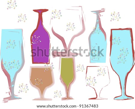 Multi colored vector wine glasses all different shapes and size. It has a white background, - stock vector