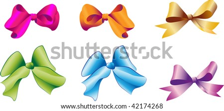 Multi-coloured bows on a white background for for dressing