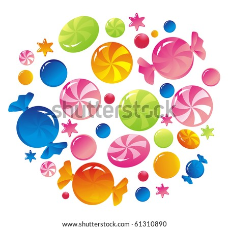 Multi-coloured striped sweets - stock vector