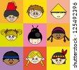 Multi ethnic children faces - stock vector