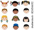 Multi ethnic children faces: Caucasian, African and  Asian boys and girls - stock vector