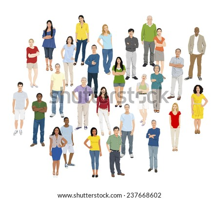 Multi-Ethnic Group of People Standing Isolated on White - stock vector