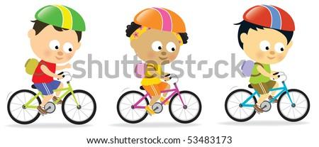 Multi-ethnic kids biking - stock vector