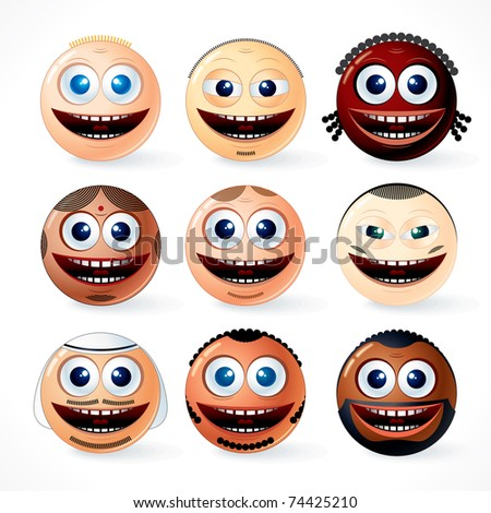Multi ethnic people man faces, smileys, emoticons - vector icon set of cartoon community - stock vector