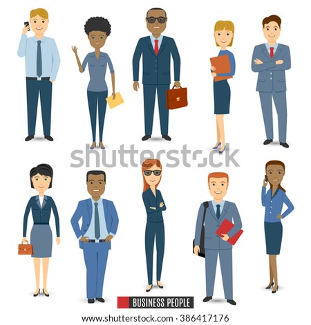 Multi Ethnic Team Of Business People.  Business People Icons Vector set. Business People Icons Picture set. Business People Isolated Icons set. Business People Flat Icons Set. - stock vector