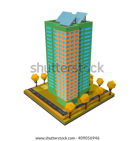 Multi-storey building. Residential house on a white background. Isometric style. Vector illustration of  an apartment building with trees, shrubs, highway. Icon isometric house with solar panels. - stock vector