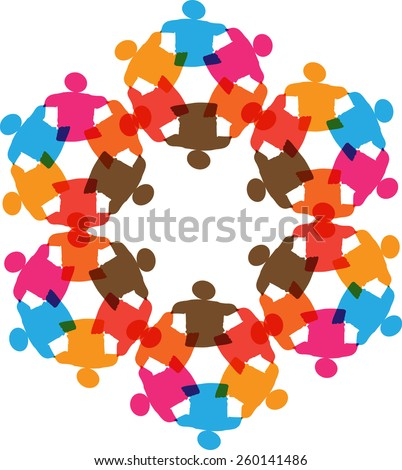 Multichannel group of young people putting their hands on top of each other. Close up image of young students making a stack of hands. - stock vector