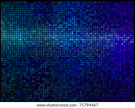 Multicolor abstract lights blue disco background. Square pixel mosaic vector - stock vector
