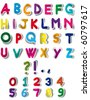 Multicolor Alphabet Stickers - stock vector