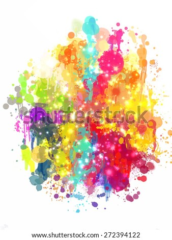 Multicolor blobs with sparkle brush strokes background. Vector version - stock vector