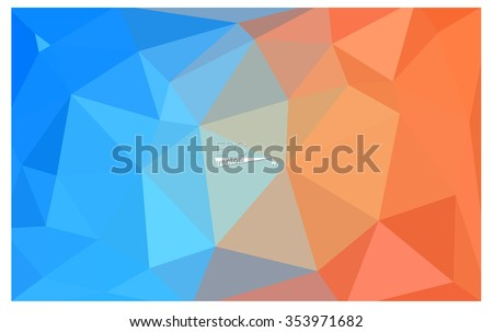 Multicolor blue, yellow, orange geometric rumpled triangular low poly origami style gradient illustration graphic background. Vector polygonal design for your business. - stock vector