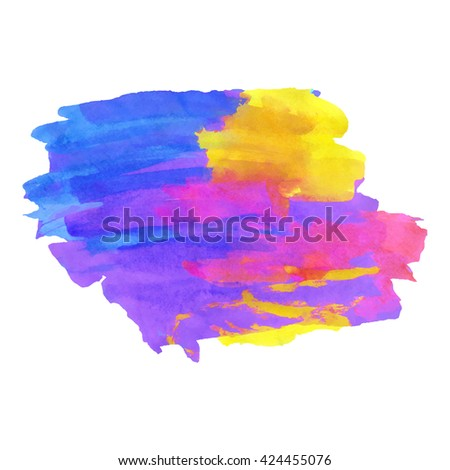 Multicolor bright watercolor painting for retro background design. Vector illustration. - stock vector