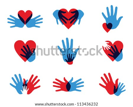 Multicolor creative diversity hands icon set. Vector illustration layered for easy manipulation and custom coloring. - stock vector
