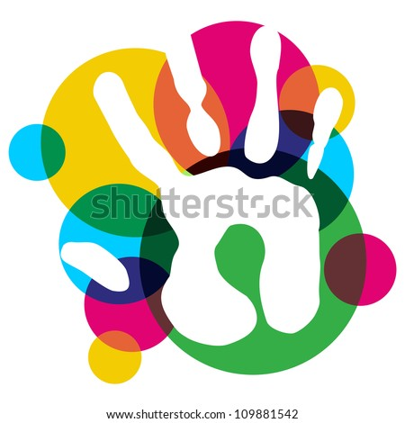 Multicolor creative diversity single hand isolated. Vector illustration layered for easy manipulation and custom coloring. - stock vector