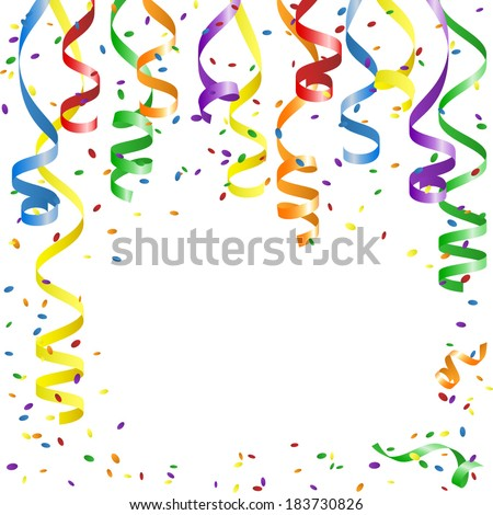 Multicolor Curling Stream and confetti  on white.  Party background with place for text. Vector Illustration - stock vector