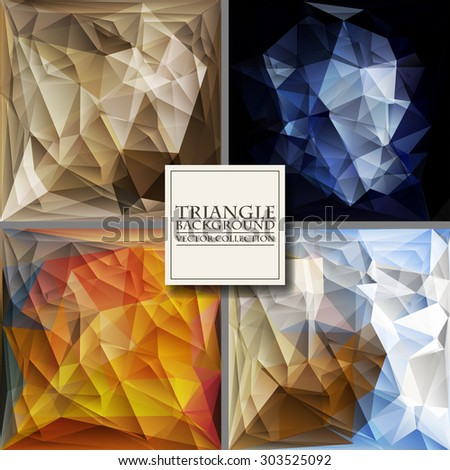Multicolor Design Templates Set. Geometric Triangular Abstract Modern Vector Background.  - stock vector