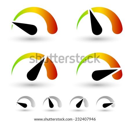 Multicolor dial, gauge elements. speed or general level indicators - stock vector