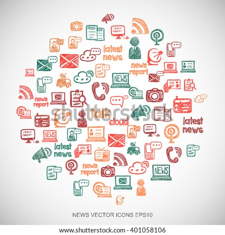 Multicolor doodles flat Hand Drawn News Icons set In A Circle on White background. EPS10 vector illustration. - stock vector