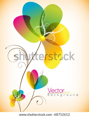 multicolor flower design - stock vector