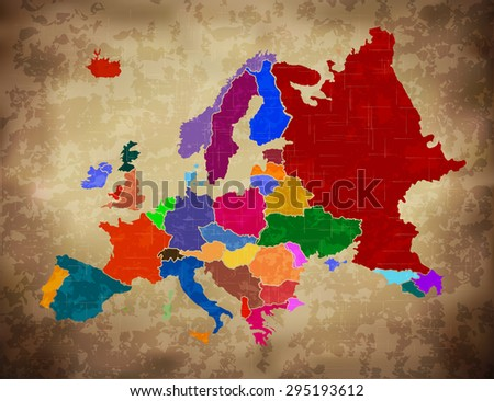 Multicolor Grunge Europe Map  (EPS10 Vector)