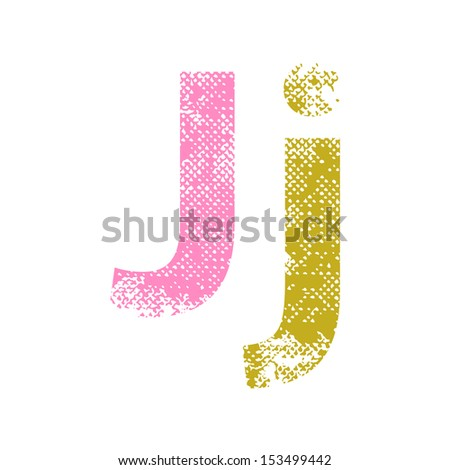 Multicolor grunge letters J. Vector illustration. - stock vector
