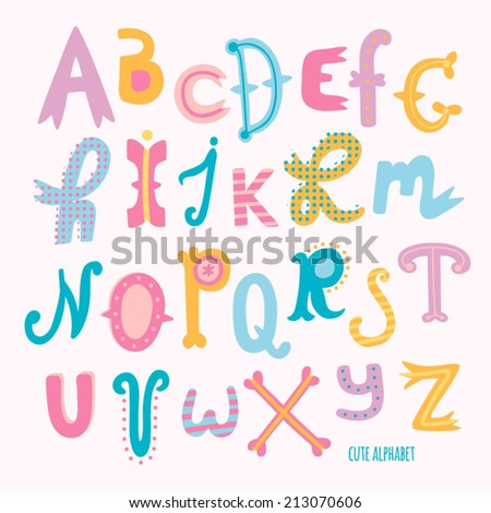 Multicolor hand drawn alphabet. Cute hand drawn letters in cartoon style - stock vector