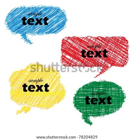 Multicolor hand drawn speech bubbles - stock vector
