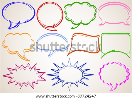 Multicolor hand-drawn talking bubbles comic book style - stock vector