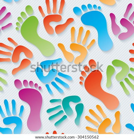 Multicolor Handprints & footprints wallpaper. 3d seamless background. Vector EPS10. - stock vector