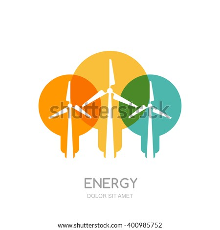 Multicolor light bulbs and wind turbines silhouettes, isolated symbol. Vector logo design template. Windmills and wind alternative energy generator. Environmental, ecology business concept. - stock vector